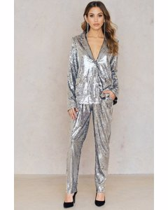 Sequins Straight Pants  Silver