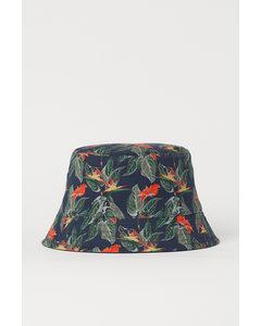 Reversible Bucket Hat Dark Blue/leaf Print