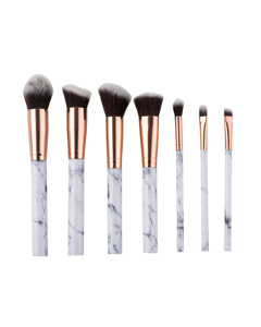 7 Piece Marble Effect Make Up Brush Set With Vegan Leather Pouch