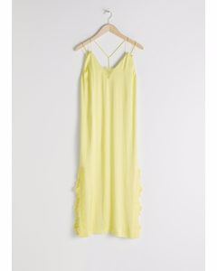 Satin Midi Slip Dress Yellow