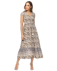 Long Printed Dress With Elastic Waist, Laces And Buttons