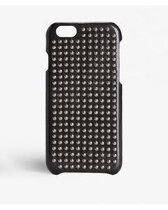 Iphone 6/6s Small Hexagonal Silver Stud Patent Dark Military