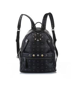 Mcm Visetos Dual Stark Leather Backpack Black