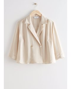 Cropped Boxy Double Breasted Blouse Cream