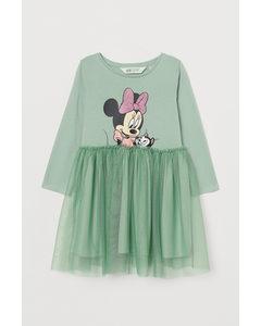 Jerseykleid mit Tüllrock Hellgrün/Minnie Maus