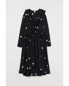 Flounced Dress Black/spotted