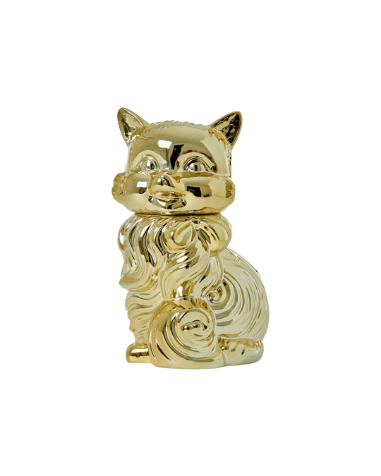 Rice by Rice Ceramic Jar In Cat Shape  Shiny Gold