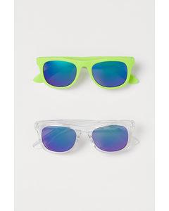 2er-Pack Sonnenbrillen Neongrün/Transparent