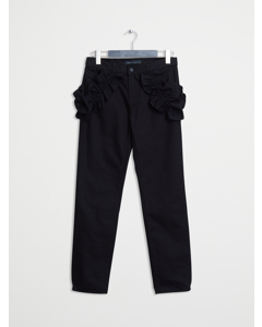 Slim Boyfriend  Ruffled Pocket Jeans Black