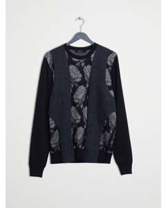Hibiscus Panel Sweater Black