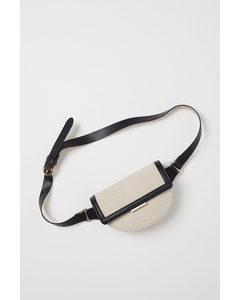Canvas Waist Bag Light Beige/black