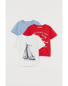 3er-Pack Baumwoll-T-Shirts Naturweiß/Segelboot