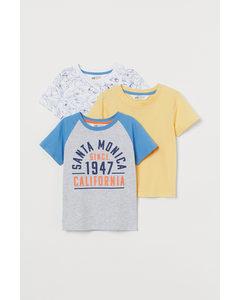 3-pack T-shirt I Bomull Ljus Gråmelerad/hajar