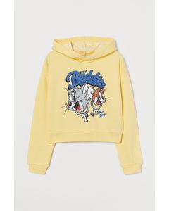 Hoodie mit Druck Hellgelb/Tom und Jerry