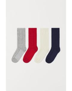 4-pack Knästrumpor Röd/mörkblå