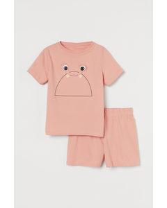 Pyjamas Med Interaktivt Motiv Puderrosa/krabba