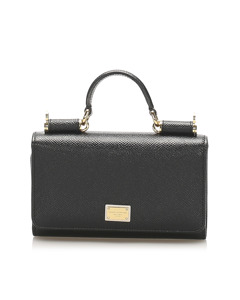 Dolce&gabbana Miss Sicily Mini Leather Wallet On Chain Black