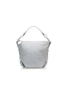 Bottega Veneta Intrecciato Leather Shoulder Bag Blue