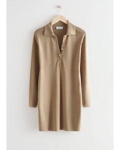 Boxy Buttoned Collar Mini Dress Beige