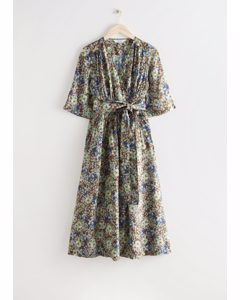 Printed Relaxed Midi Wrap Dress Floral Print