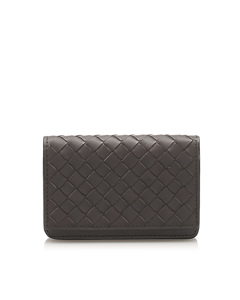 Bottega Veneta Intrecciato Leather Card Holder Black