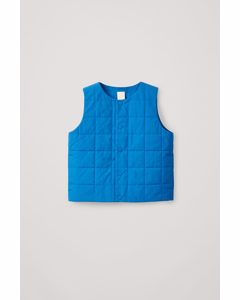 Check Quilted Padded Gilet Bright Blue