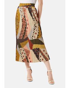 Pleated Falls Printed Midi Dress In Multicoloured