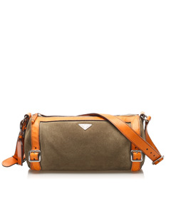 Prada Canvas Shoulder Bag Brown