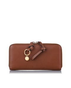 Chloe Alphabet Leather Zip Around Wallet Brown
