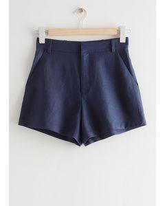 Leinen-Shorts Dunkelblau