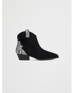 Biadaya Western Suede Boot Black