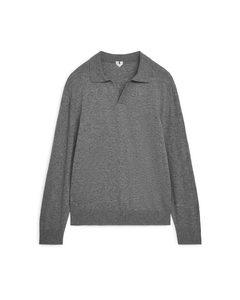 Strickpolohemd aus Baumwolle und Merinowolle Graumeliert