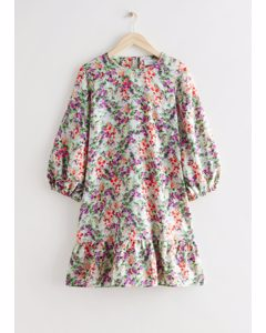 Relaxed A-line Mini Dress Floral Print