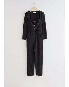 Padded Shoulder Sweetheart Neckline Jumpsuit Black