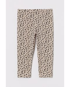 Leggings in 3/4-Länge Hellbeige/Leopardenmuster