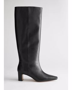 Almond Toe Knee High Leather Boots Black