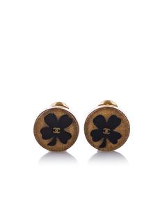 Chanel Cc Clover Clip-on Earrings Black