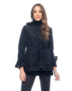Jacket With Hood, Belt And Visible Pockets
