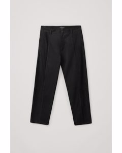 Suede Panel Trousers Black