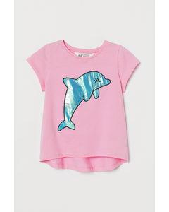 Jerseyshirt mit Applikation Rosa/Delfin