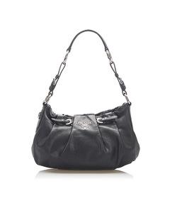 Prada Vitello Daino Leather Hobo Bag Black