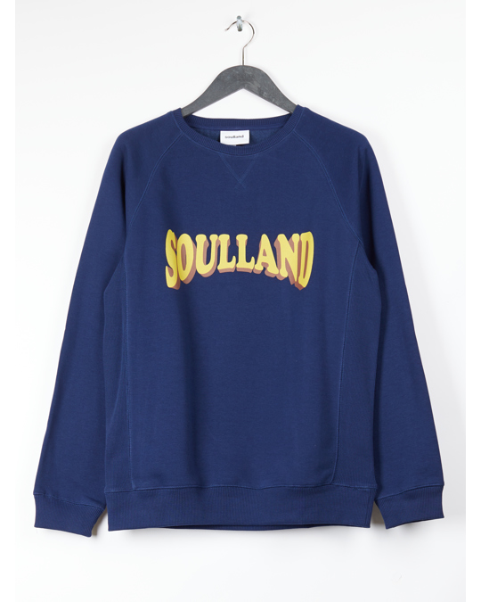 Soulland Aw18 Hockney Sweat W. Logo Print - Navy