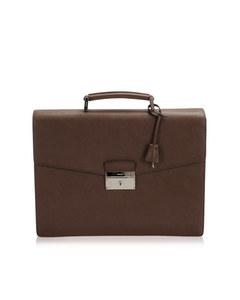 Prada Saffiano Business Bag Brown