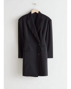 Oversize-Minikleid im Blazer-Stil mit Sanduhr-Silhouette Schwarz