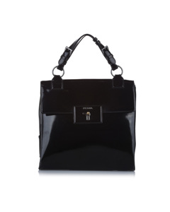 Prada Patent Leather Handbag Black