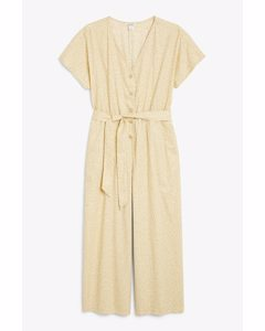 Wide Leg Jumpsuit Beige With Yellow Flowers