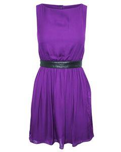 Purple Silk Dress With Leather Belt