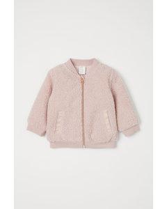Faux Shearling Bomber Jacket Light Pink