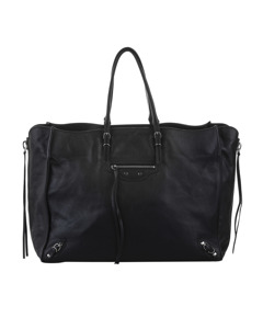 Balenciaga Papier A4 Leather Zip-around Tote Bag Black