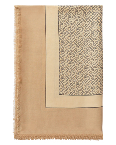Tb Lightweight Scarf In Pale Camel Printed Cashmere